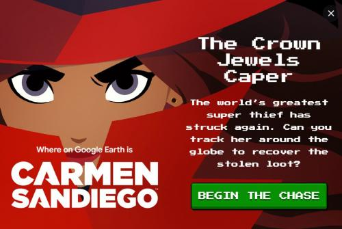 Where on Google Earth is Carmen Sandiego? Game