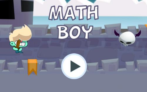 screen shot of math boy game with a boy with a wooden sword