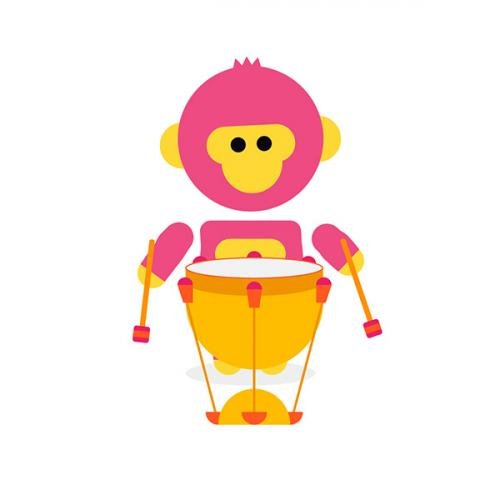 pink monkey with drum