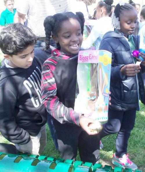 boys with prize chocolate bunny