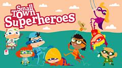 small town superheroes logo - cartoon kids dressed as super heroes