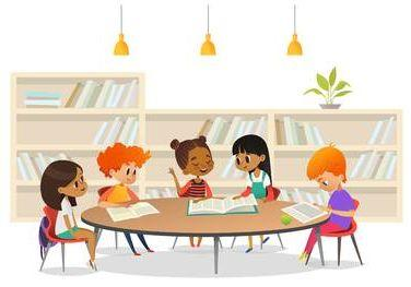 cartoon students sitting at a table with books