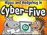hippo and hedgehog cartoon characters at computer