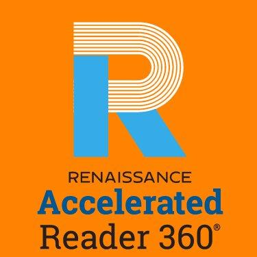 accelerated reader logo with orange background
