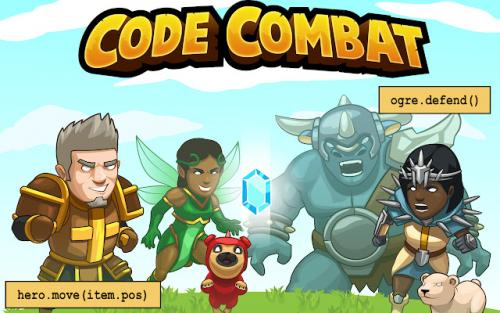 code combat logo with warriors and ogres