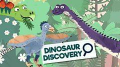 cartoon dinosaurs with the words: dinosaur discovery