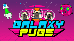 words galaxy pugs with cartoon pug dogs in a space craft