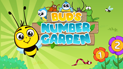 words Bud's Number Garden with cartoon bee and flowers