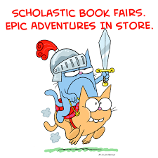 Scholastic Book Fair, Epic Adventures in Store with cartoon of a cat in knight armor riding another cat