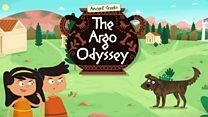 words the argo odyssey, cartoon boy girl and dog