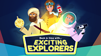 words exciting explorers, cartoon characters of ibn battuta, amelia earhart, neil armstrong