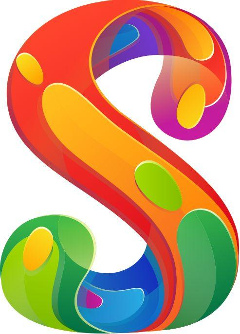 sketch pad logo, colorful letter s