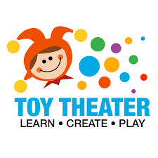 jester clip art with the words toy theater, learn, create, and play