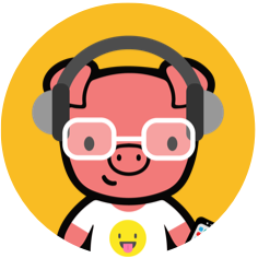 cartoon pig with headphones