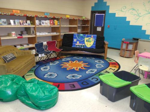 classroom with books and couches