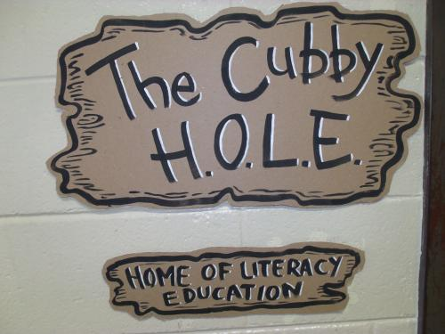 cubby hole painted sign