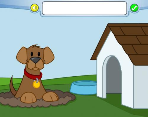 cartoon dog with doghouse