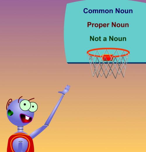 cartoon robot with basketball hoop
