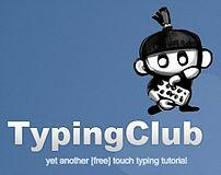 blue background with black and white cartoon kid typing