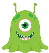 GREEN  MONSTER WITH ONE EYE