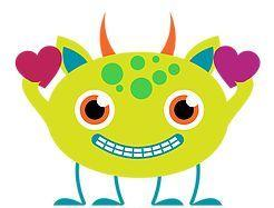 GREEN MONSTER WITH HEARTS