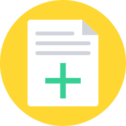 yellow icon with paper and plus sign