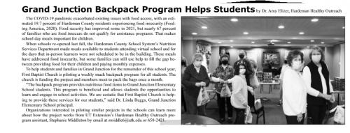 Backpack Program helps children.