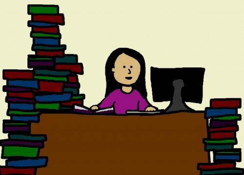 girl at desk with books