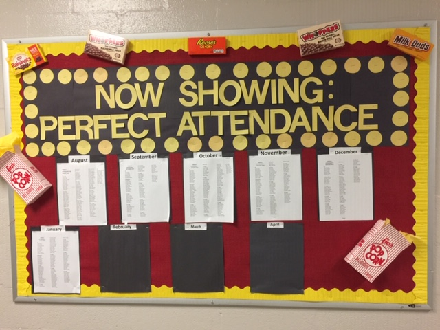 Perfect attendance board at HES! We are so proud of those that really give attendance their all!!! THANK YOU!