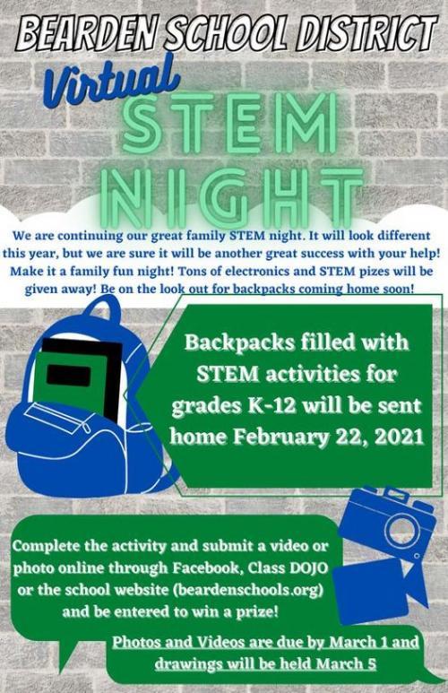 Clipart of Virtual STEM Night Announcement