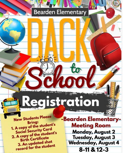 Flyer announcing Beareden Elementary registration for 2021-22 school year.