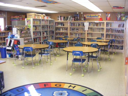 library shelves and tables