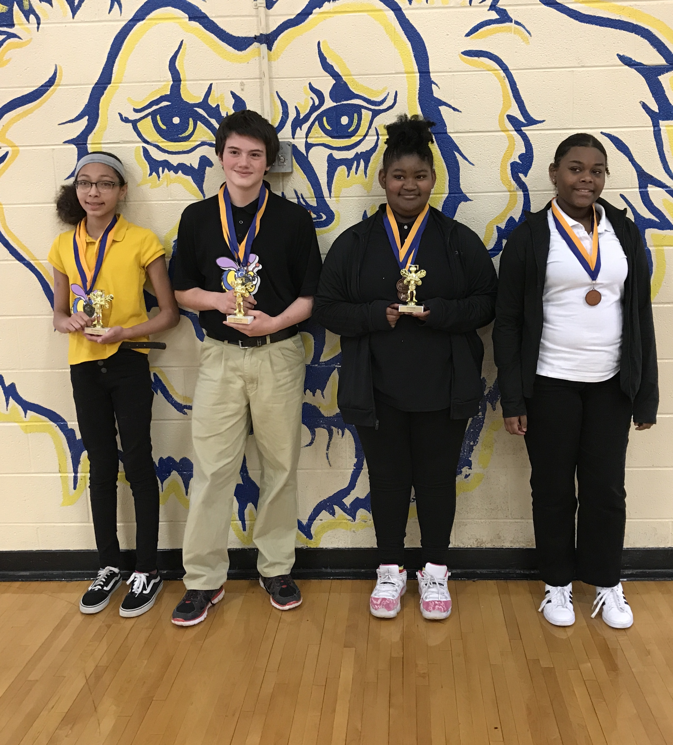 Spelling Bee Winners First Place Tiara Hill, Second Place Logan Pittman, Third Place Taniya Starks, 4th Alternate Janyla Spencer