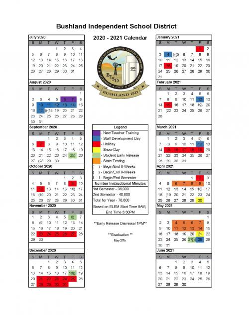 2020-2021 Approved District Calendar