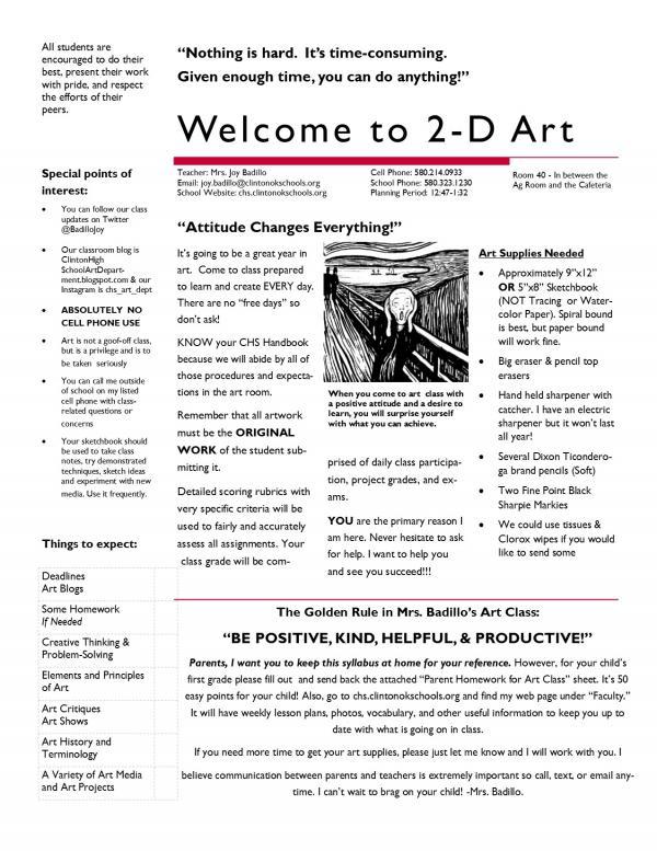 2018-2019 2D Art Syllabus