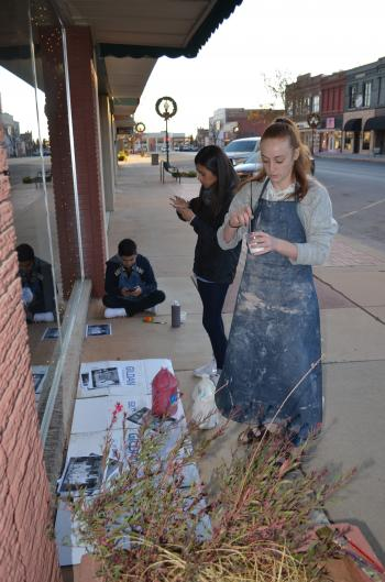 CHS art students window painting as a fundraiser!