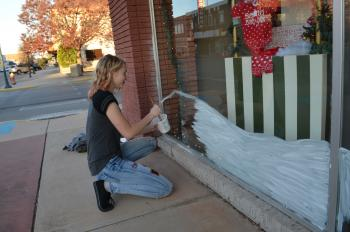More Christmas window painting by Morgan!