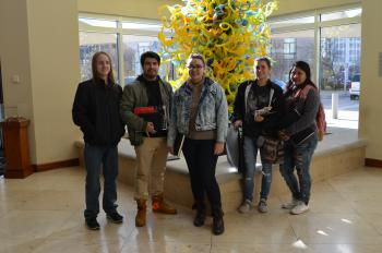 CHS advanced Junior and Senior art students participated in Portfolio Day with representatives from numerous art schools at the Oklahoma City Art Museum. Left to right: Dylan Bishop, Ulises Zatarain, Whisper Walker, Graycianne Bennett, and Ana Sucuqui.