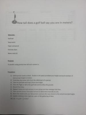 Physics Class Golf Ball Lab