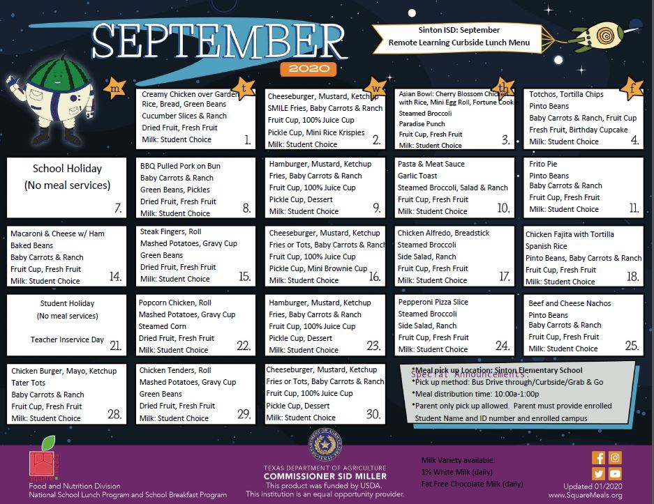Sept Curbside Menu-All Students