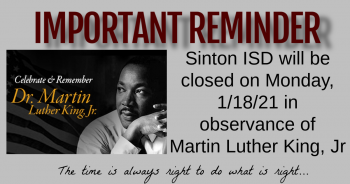 No School 1/18/21 In Remembrance of MLK Jr