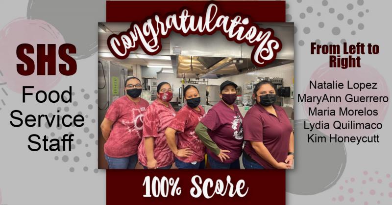 Congratulations SHS Food Service Staff