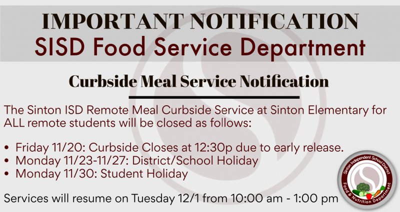 Curbside Meal Service Holiday Closure Dates