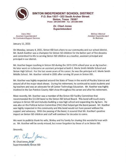 condolence letter for Mr. Koether