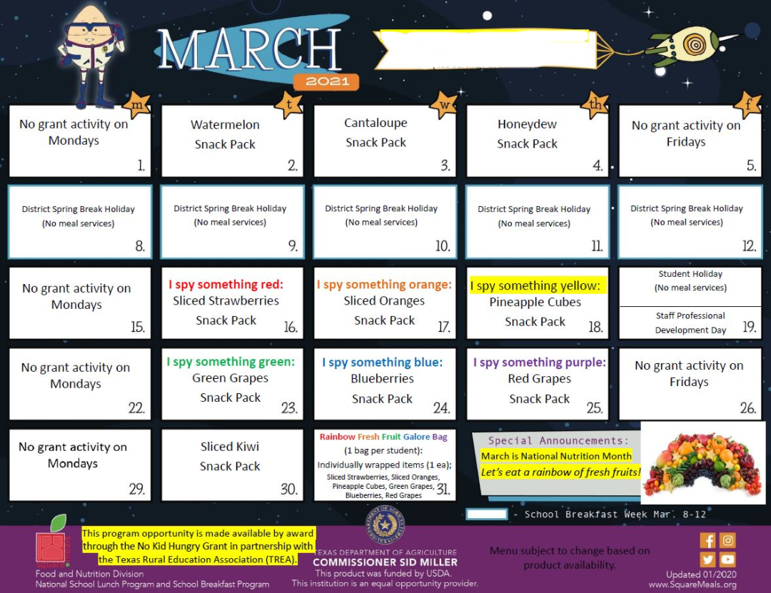 March Activity Page