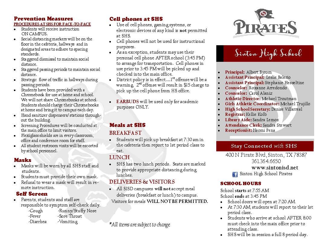 SHS Brochure Page 1