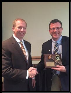 WASA Past-President Jay Curtis (R) Congratulates WASA President Gerry Chase