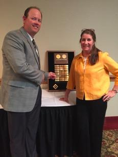 2016 Superintendent of the Year Shon Hocker (L) Congratulated by Pam Shea (SOY 2015)