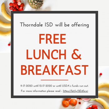 Thorndale ISD Receives USDA Waiver for Students to get FREE Lunch & Breakfast