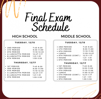 TMS & THS Final Exam Schedule